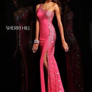 Sherri Hill 21160 fuchsia one shoulder dress, slit